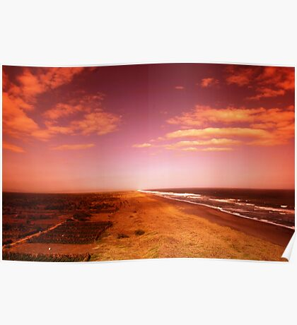 sunset over the beach Poster