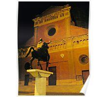 A Square in Pavia, Lombardia, Italy. Church of San Michele Maggiore. Poster