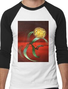 Abstract fractal on the red background Men's Baseball ¾ T-Shirt