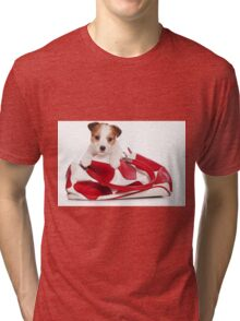 Jack Russell Terrier puppy and a red bag Tri-blend T-Shirt