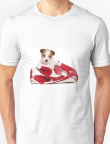 Jack Russell Terrier puppy and a red bag T-Shirt