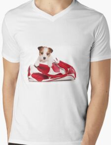 Jack Russell Terrier puppy and a red bag Mens V-Neck T-Shirt