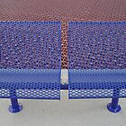 purple bench with grate background by Andrew Bloom