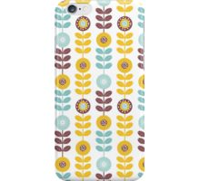 Retro girly orange teal abstrct floral pattern  iPhone Case/Skin