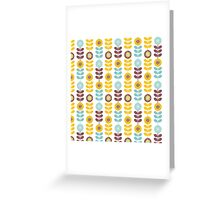 Retro girly orange teal abstrct floral pattern  Greeting Card