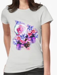 FLORAL ELECTRIC ROSE/COLLECTION Womens Fitted T-Shirt