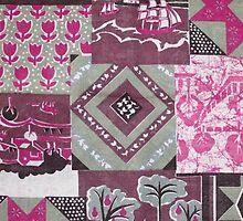 Vintage pink maroon floral patch work pattern by Maria Fernandes