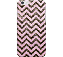 Black pink gold faux leather chevron pattern  iPhone Case/Skin