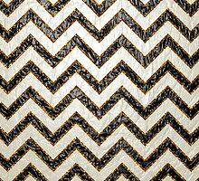 Black white gold faux leather chevron pattern by Maria Fernandes