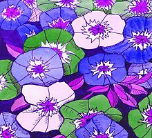 Petunias Purple & Green by marlene veronique holdsworth