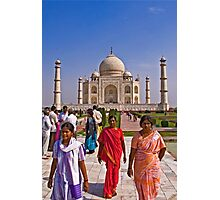 Indian fashion in front of Taj Mahal Photographic Print