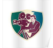 Cameraman Moviemaker Vintage Camera Shield Poster