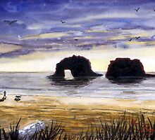 Twin Rocks, Rockaway Beach Oregon Watercolor Sketch by Pagani