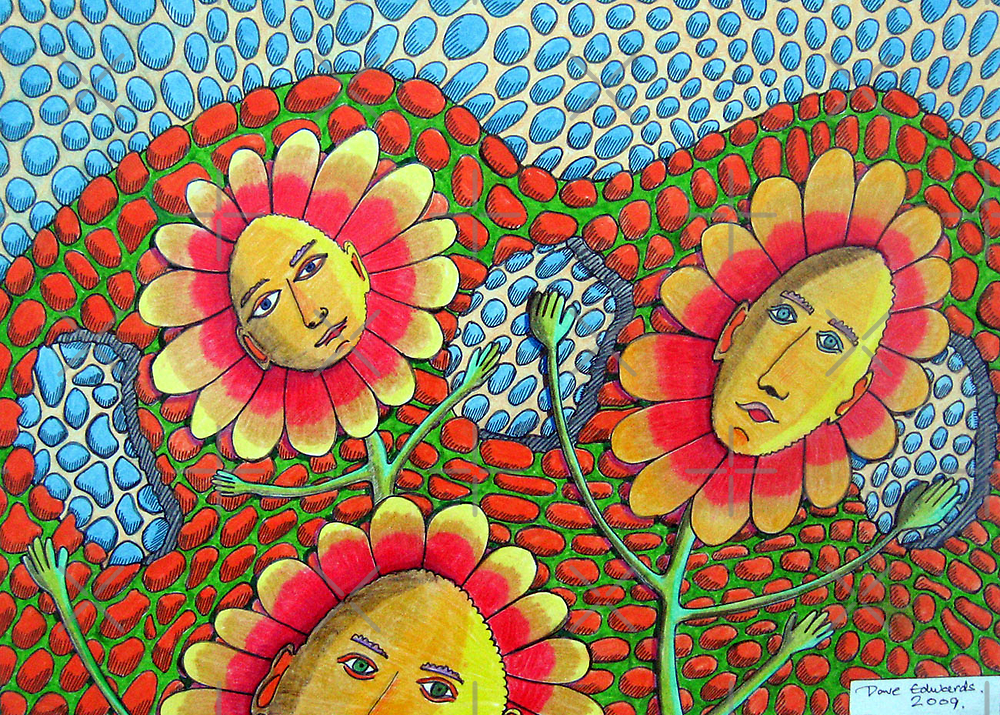 273 - THE RETURN OF FLOWER-POWER - DAVE EDWARDS - COLOURED PENCILS & FINELINERS - 2009 by BLYTHART