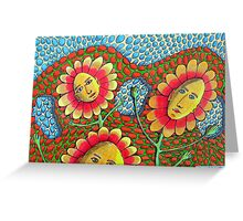 273 - THE RETURN OF FLOWER-POWER - DAVE EDWARDS - COLOURED PENCILS & FINELINERS - 2009 Greeting Card