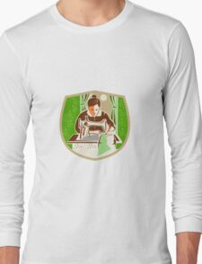 Seamstress Dressmaker Sewing Shield Retro Long Sleeve T-Shirt