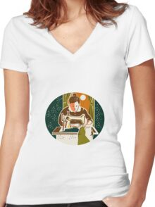 Seamstress Dressmaker Sewing Oval Retro Women's Fitted V-Neck T-Shirt