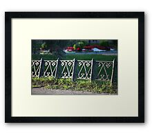ancient fence city park Framed Print