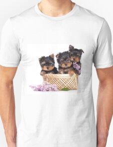Three Puppy York and flowers T-Shirt