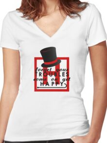 House M.D. - Get Happy  Women's Fitted V-Neck T-Shirt