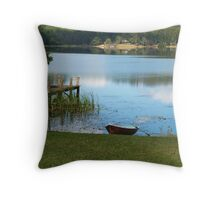 Boat by Baroon Pocket Dam Throw Pillow
