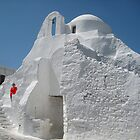 Mykonos Red on White by Keith Richardson