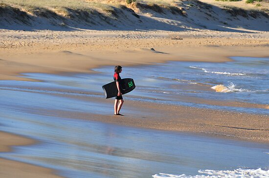 Boogie Board Dreaming - Nobbys Beach Newcastle NSW by Bev Woodman