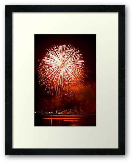 Red Light At Night - Sydney Harbour - New Years Eve - Midnight Fireworks  by Bryan Freeman