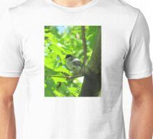 Cute baby bird on branch Unisex T-Shirt