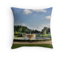Rose Garden Fountain Throw Pillow