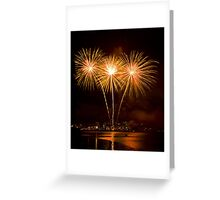 We Three Palms - Sydney Harbour - New Years Eve - Midnight Fireworks  Greeting Card