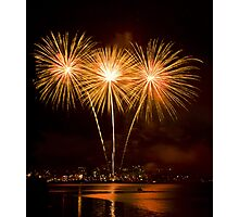 We Three Palms - Sydney Harbour - New Years Eve - Midnight Fireworks  Photographic Print