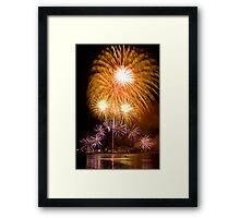 Sunflower Burst - Sydney Harbour - New Years Eve - Midnight Fireworks Framed Print