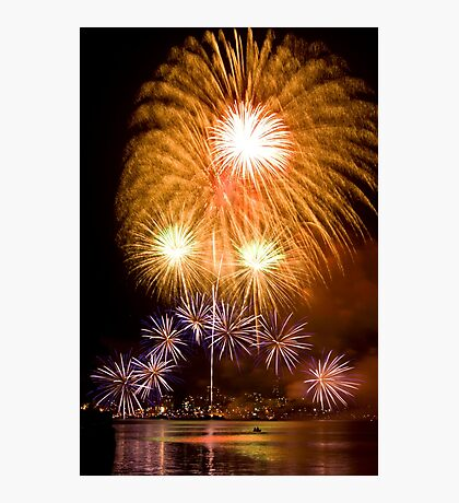 Sunflower Burst - Sydney Harbour - New Years Eve - Midnight Fireworks Photographic Print