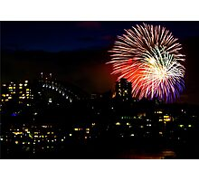 Sydney Harbour Fireworks - New Years Eve  Photographic Print