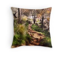 Path down to the river's edge Throw Pillow