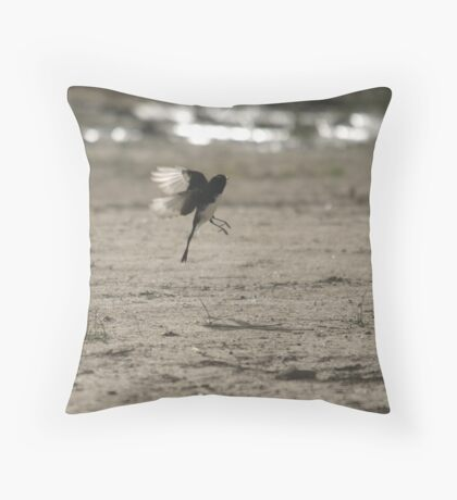 Willie Wagtail acrobatics Throw Pillow