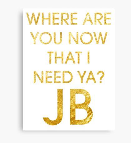 Where Are Ü Now - Justin Bieber Canvas Print