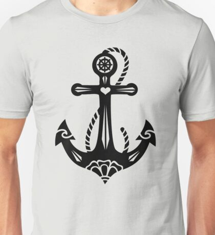 Anchor & Sacred Rose, Symbol Hope, Faith & Love Unisex T-Shirt