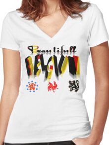 BEAUTIFULL BELGIUM  T Shirt  (For the Patriotic Tees Challenge) Women's Fitted V-Neck T-Shirt
