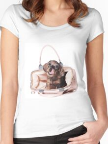 Cute Funny dachshund puppy Women's Fitted Scoop T-Shirt