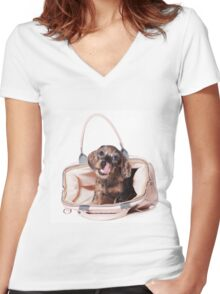 Cute Funny dachshund puppy Women's Fitted V-Neck T-Shirt