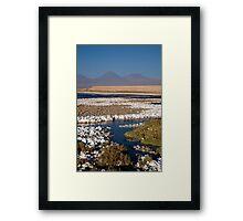 Licancabur volcano from Cejar Pond, Atacama Desert, Chile Framed Print