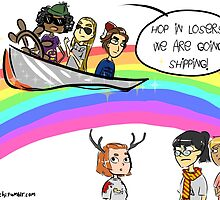 Hop in Losers, we are going shipping! by joanacchi