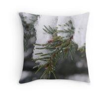 Snow on pine needles Throw Pillow