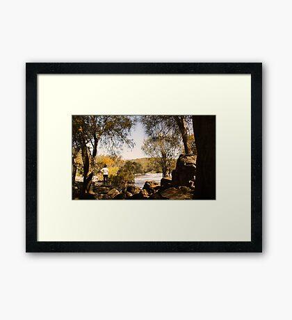 Downstream through the rocks Framed Print