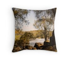 Downstream through the rocks Throw Pillow