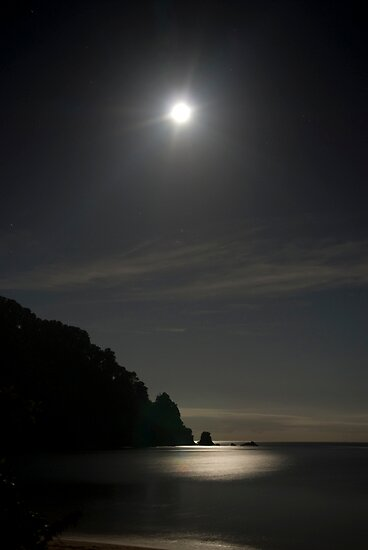 Full moon over Totaranui Beach 2 by Paul Mercer