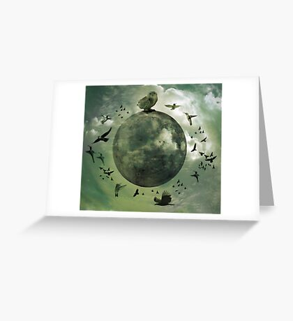 The moon and her dancing minions Greeting Card