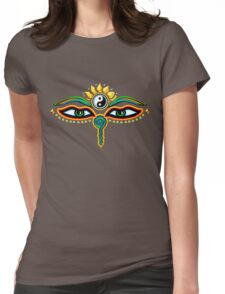 Buddha eyes, symbol wisdom & enlightenment, Womens Fitted T-Shirt